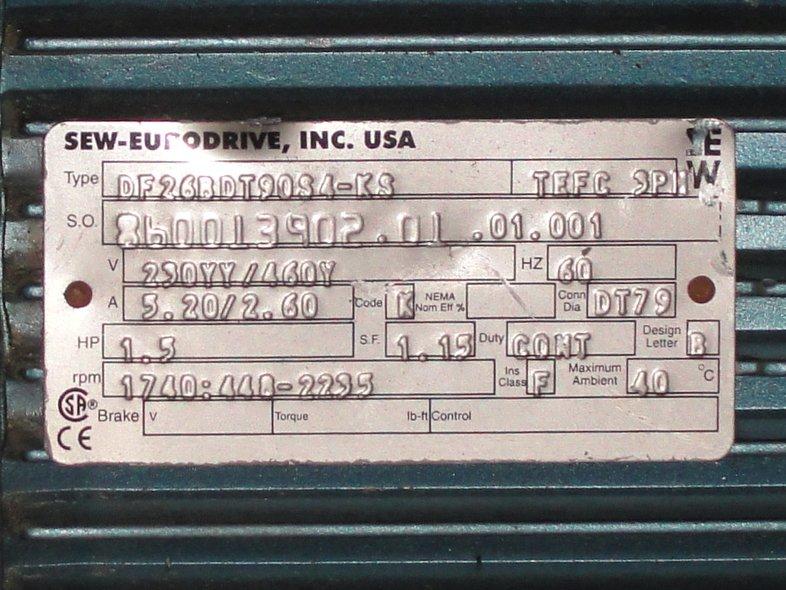 1 5 Hp Sew Eurodrive Gearmotor Df26bdt90s4 Ks Ebay
