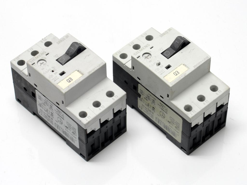 two siemens 3rv1011 1ja10 motor circuit breakers 5 hp
