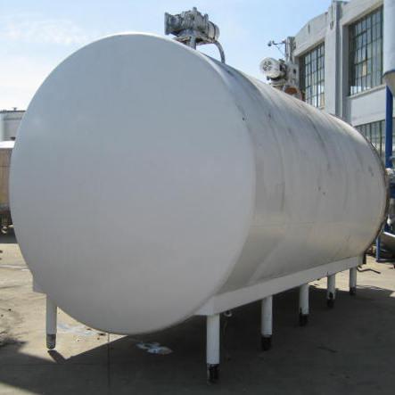 6000 gallon horizontal tank, stainless steel, dimple jacket, (2) 2 hp agitators5