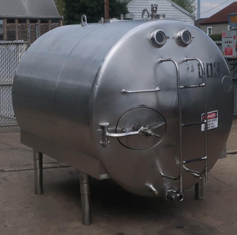 1,000 gallon Mojonnier Brothers horizontal tank, stainless steel, sanitary1
