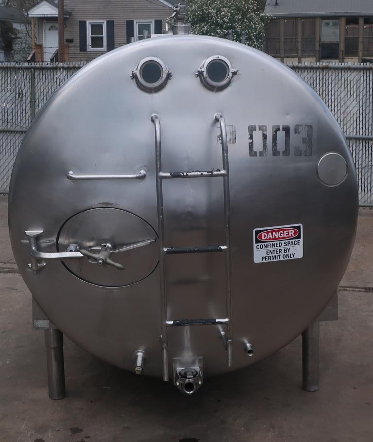 1,000 gallon Mojonnier Brothers horizontal tank, stainless steel, sanitary2
