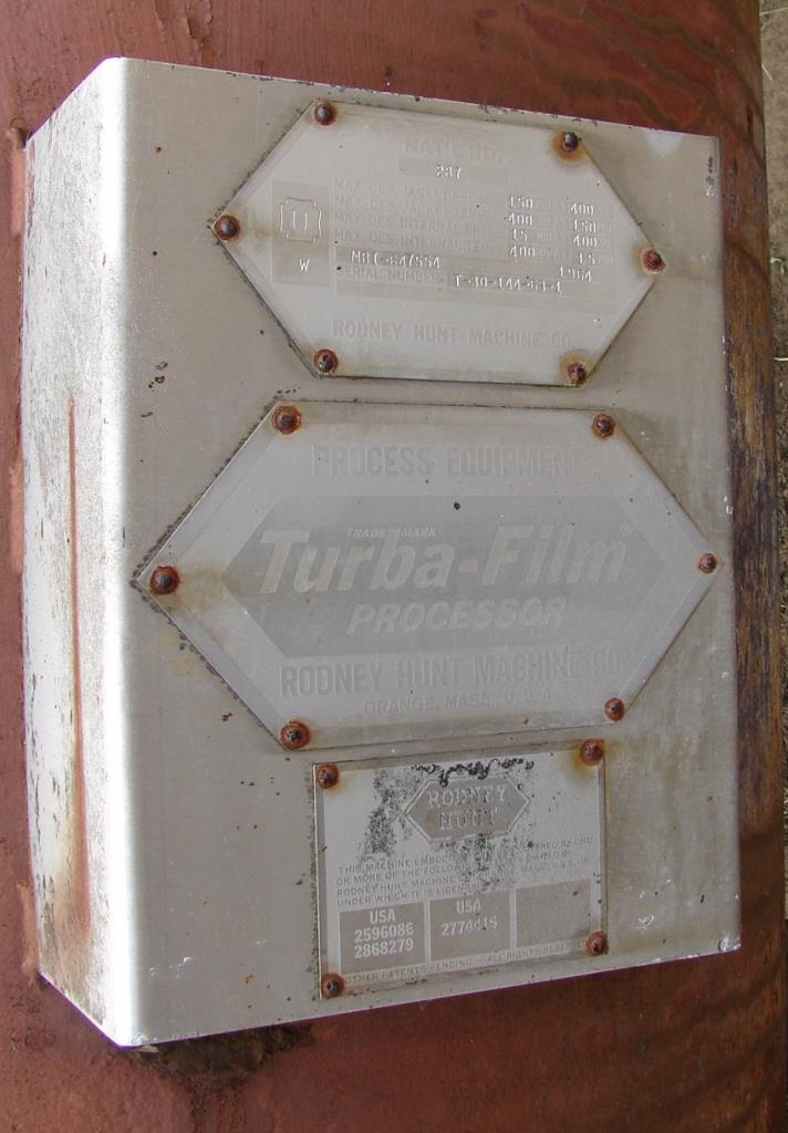 Evaporator 97 sq.ft. Rodney Hunt thin film evaporator, 316 SS2