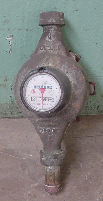 Valve 1 Neptune model 1T-10 liquid flow meter, Brass1