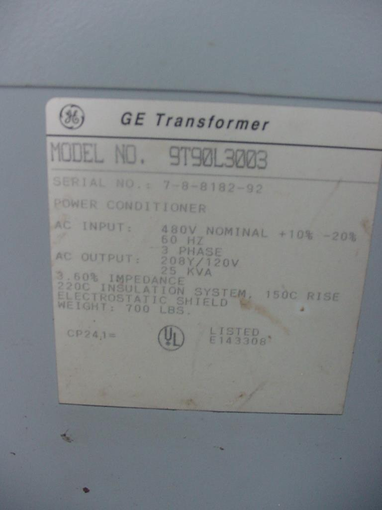 Transformers and Switchgear 25 kva GE dry transformer, 480 high voltage, 208Y/120 vac low voltage, 3 phase2
