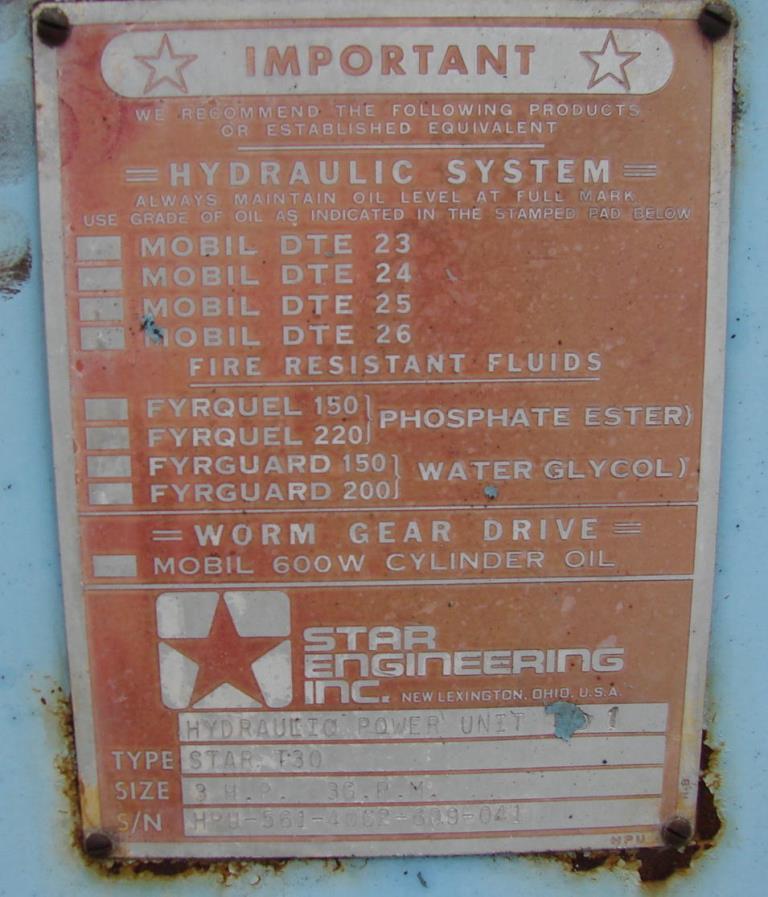 Pump 3 hp Star hydraulic power unit, model Star T303
