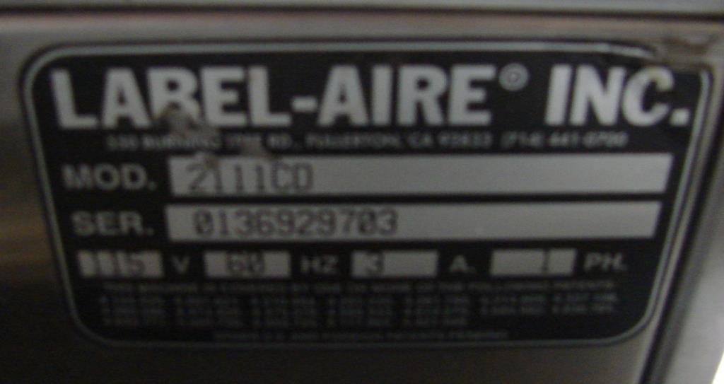 Labeler Label-Aire pressure sensitive labeler model 2111CD, Blow On2