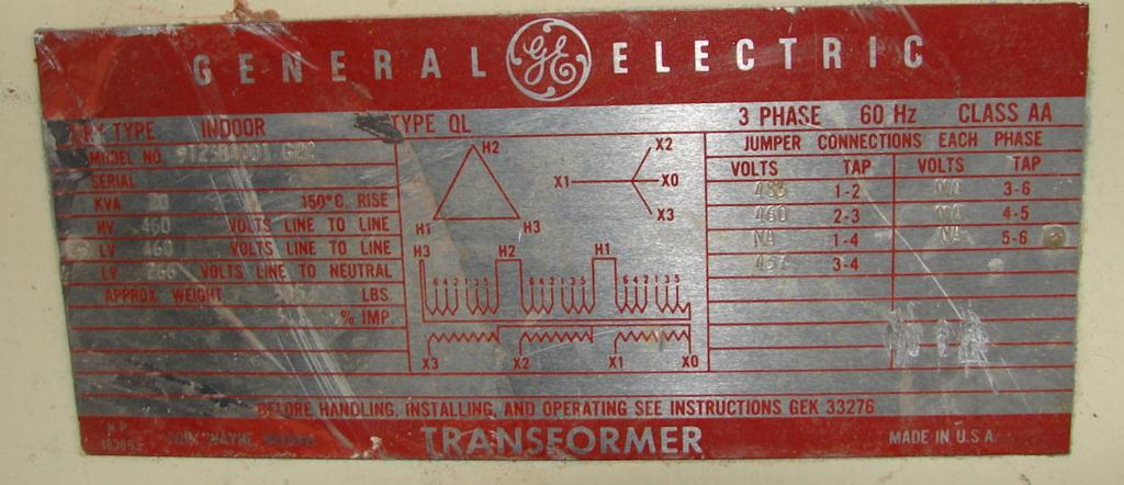 Transformers and Switchgear 20 kva General Electric dry transformer, 460 high voltage, 266 low voltage2