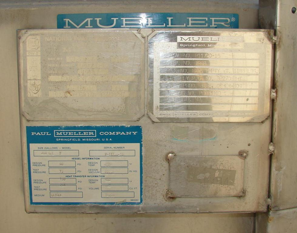 Used Mueller Chemical Reactor For Sale
