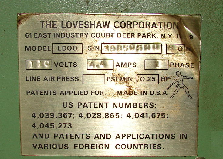 Case Sealer Loveshaw top and bottom case taper model LD003
