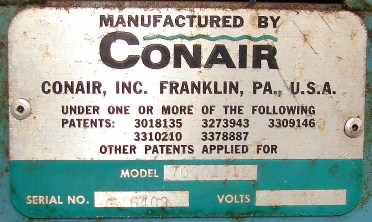 Blower 59 cfm, positive displacement blower Conair, 3 hp3