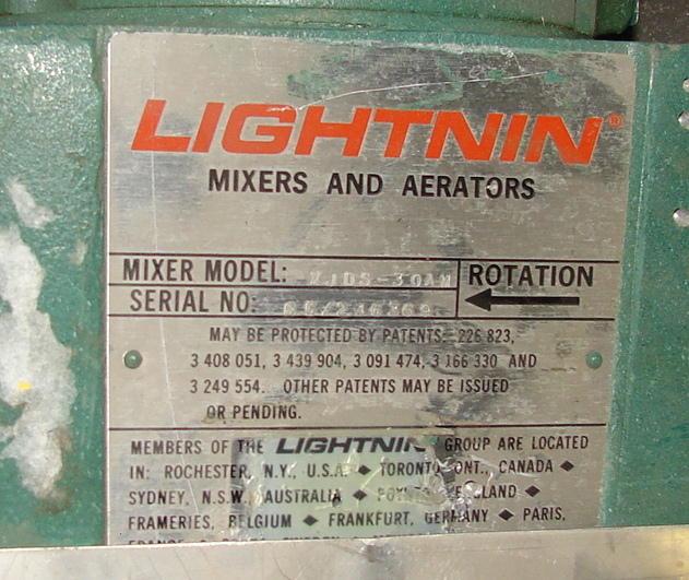 Agitator .3 hp Lightnin top mount agitator model XJDS 30AM3