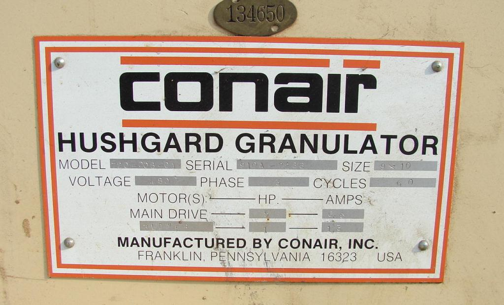 Granulator 5 hp Conair plastic granulator model 720-008-01, 11 x 17 throat, 9 x 10 rotor2