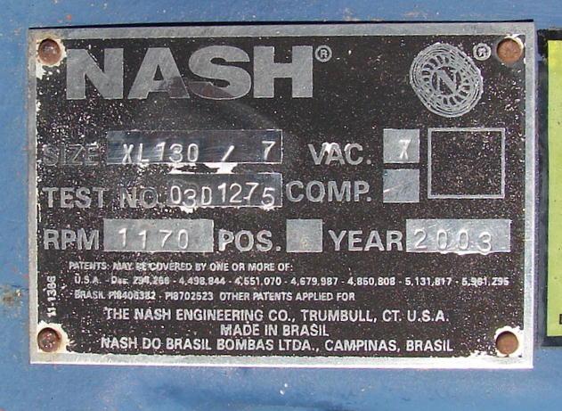Pump 750 cfm Nash vacuum pump model XL130/7 60 hp, CS3