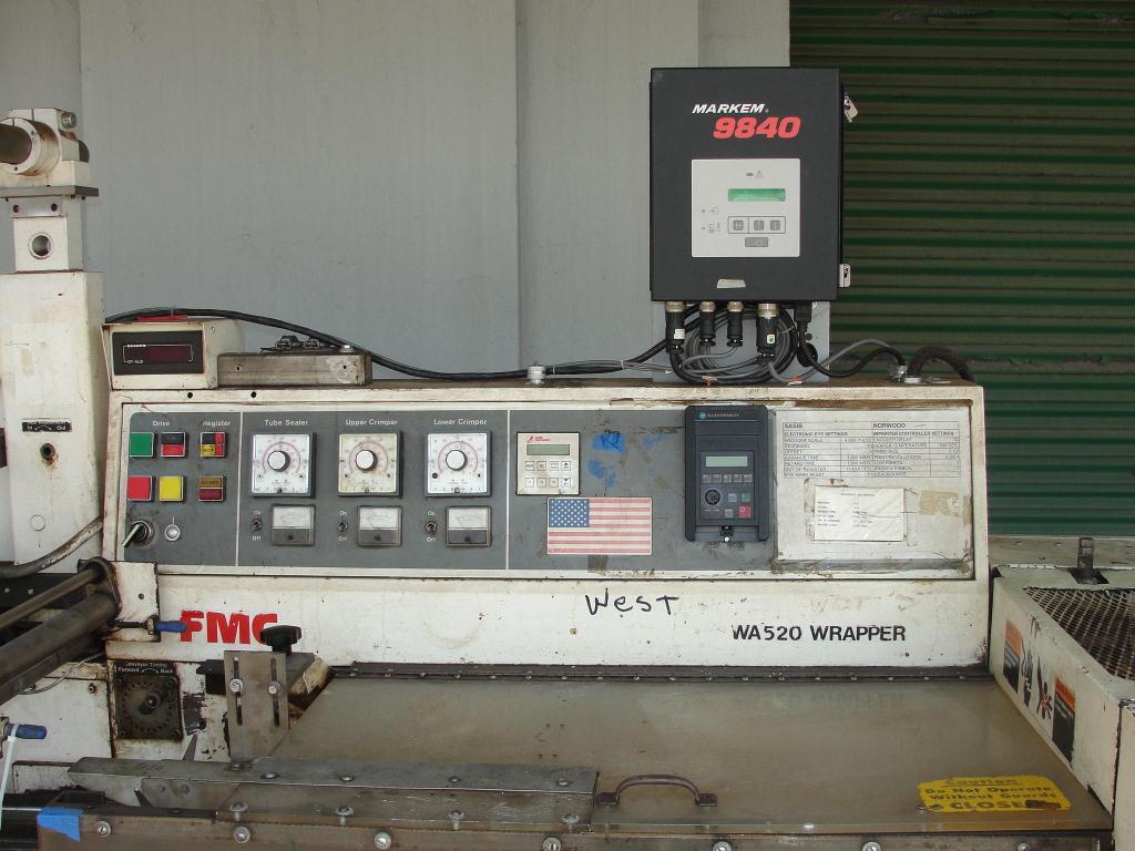 Wrapper FMC horizontal flow wrapping machine model WA520, speed 200 ppm3