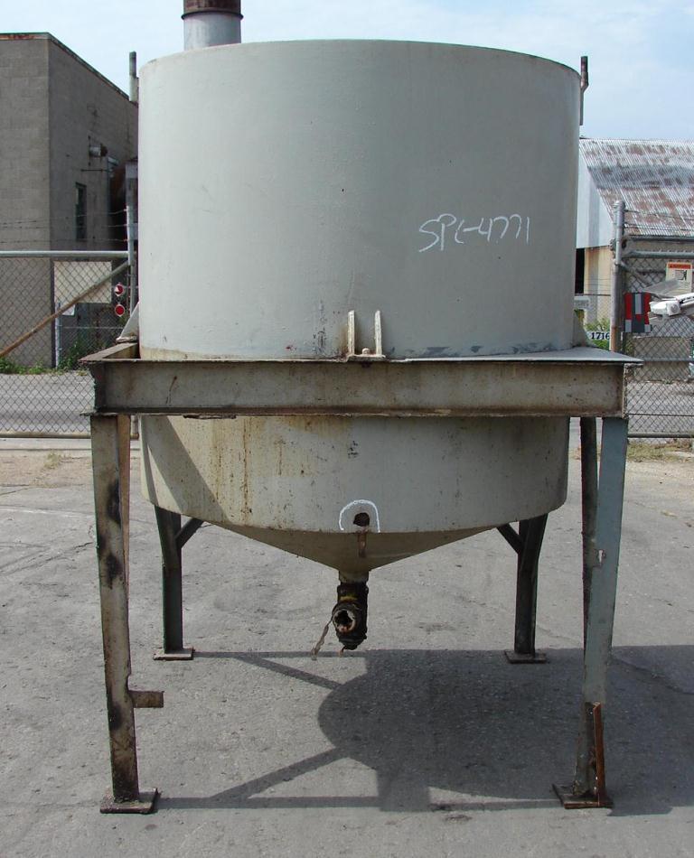 Tank 575 gallon vertical tank, CS, Low Pressure jacket, sweep agitator, conical bottom1