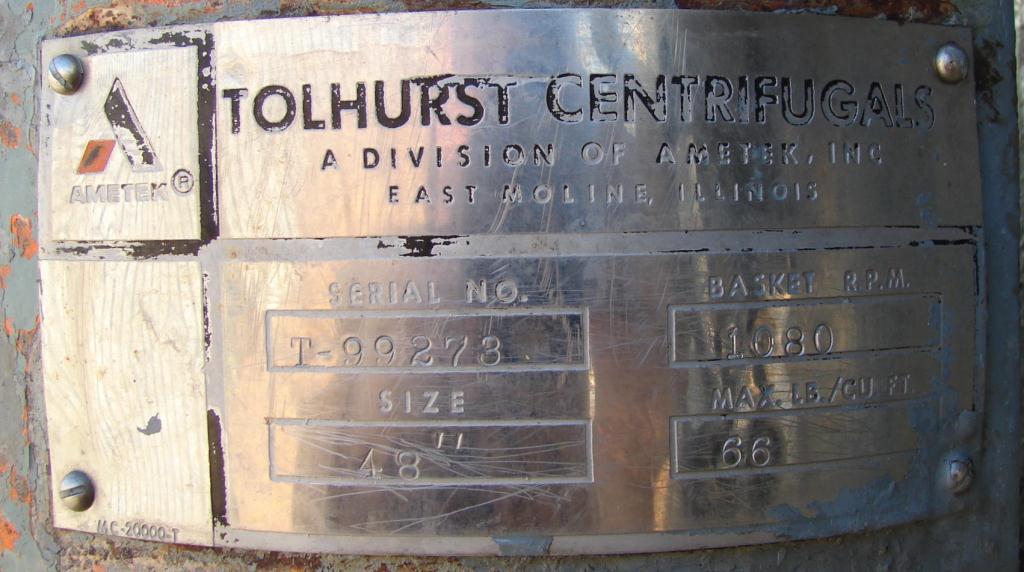 Centrifuge 48 diameter Tolhurst solid basket centrifuge model Batch-O-Matic, 1080 rpm, center scrape unload, Stainless Steel Contact Parts6