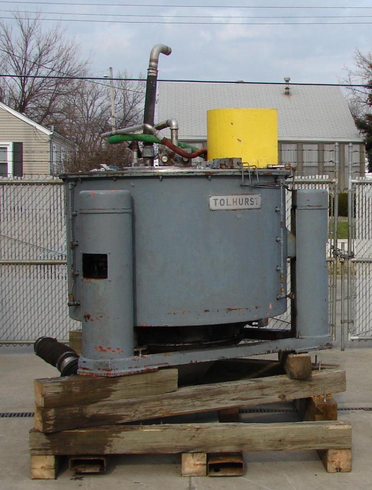 Centrifuge 48 diameter Tolhurst solid basket centrifuge model Batch-O-Matic, 1080 rpm, center scrape unload, Stainless Steel Contact Parts4