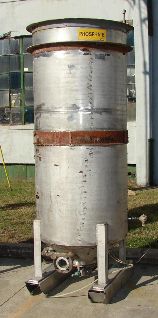 Tank 350 gallon vertical tank, Stainless Steel, conical bottom1