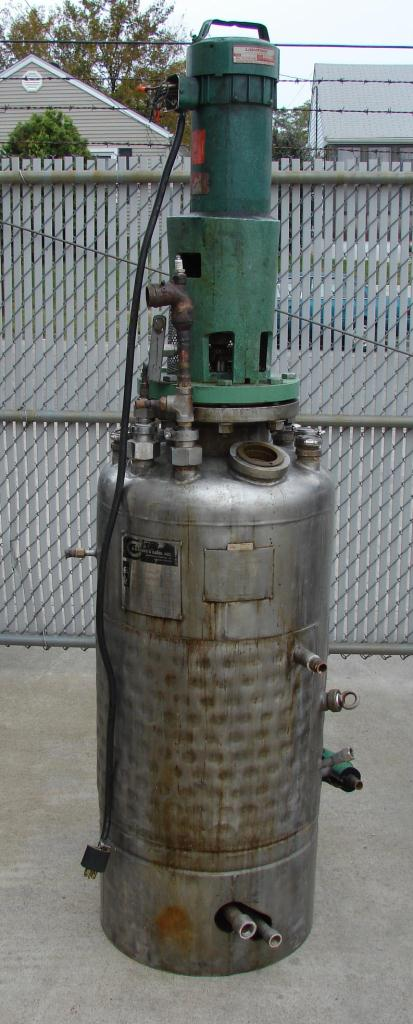 Reactor 50 gallon HC Hicks & Sons chemical reactor, 50 psi internal, 125 psi jacket, 3/4 hp agitator1
