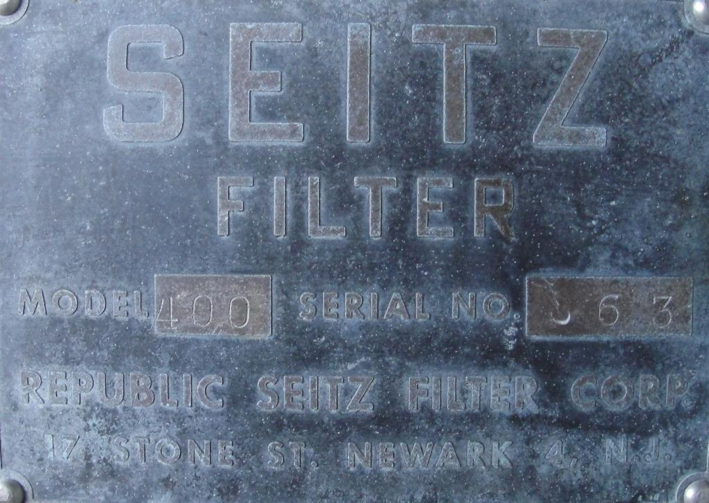 Filtration Equipment 20 sq.ft. Seitz plate and frame filter model 400, Brass, 17 plates, 1.8 cu ft capacity4