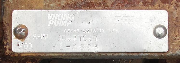 Pump 1.5 inlet Viking positive displacement pump model HL-4625, 1.5 hp, CS2