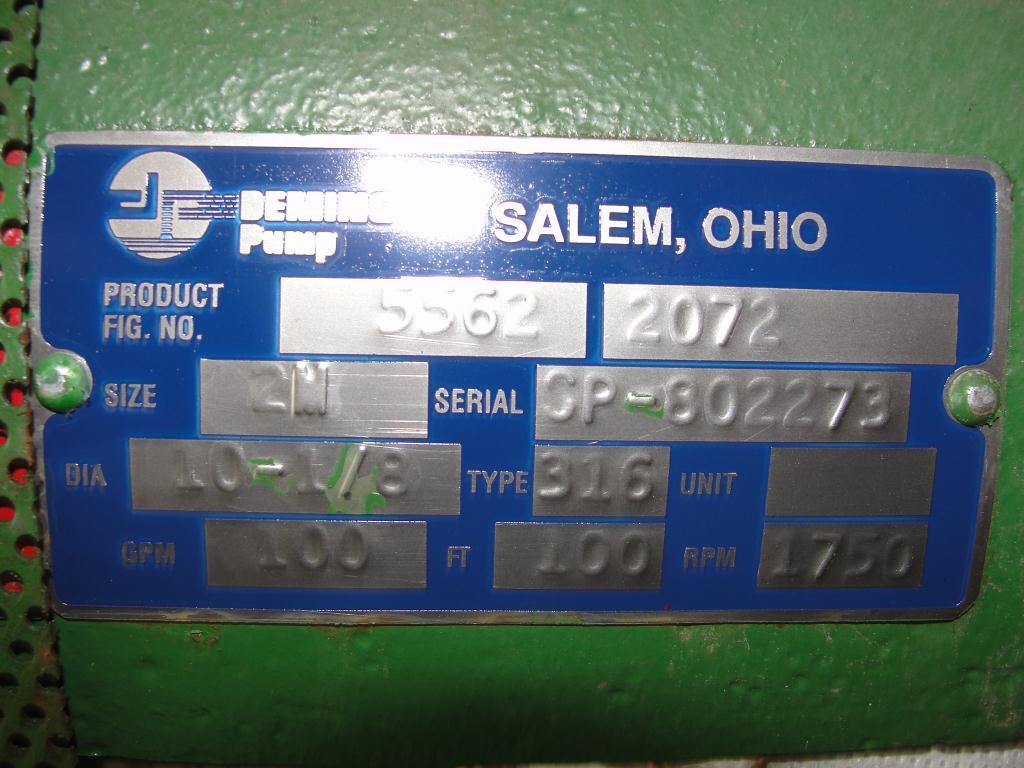 Pump 3x2x10.125 Deming vertical centrifugal pump model 5562/2M, 316 SS4