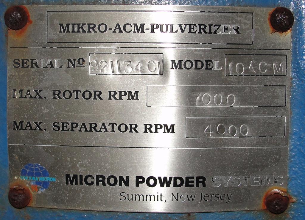 Pulverizer 10ACM Hosokawa Mikro pulverizer mill, 8 feed, CS, 10 hp4