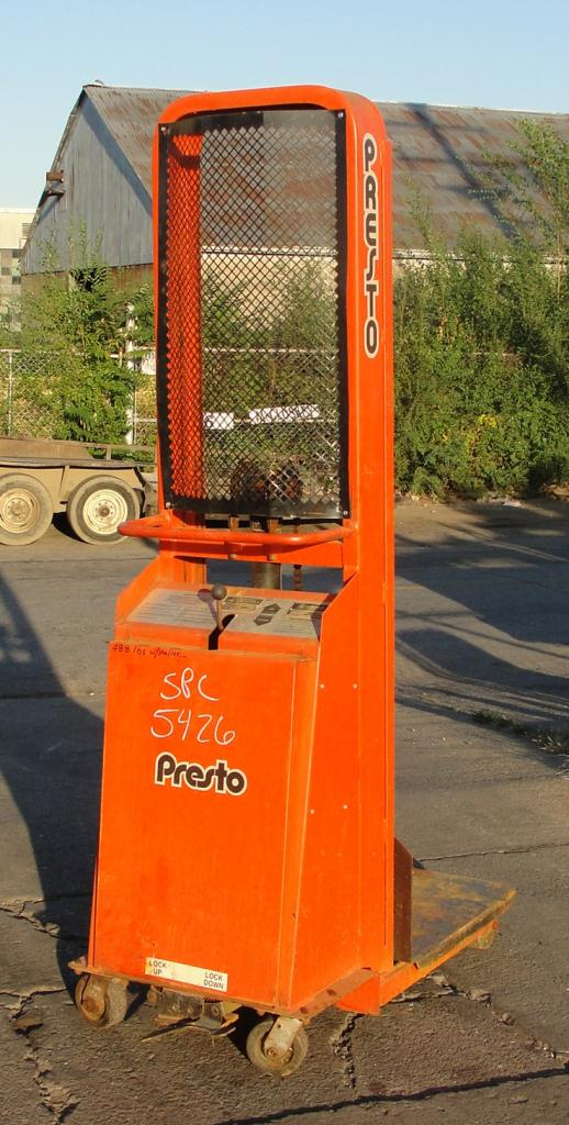Material Handling Equipment 1500 lbs capacity Presto drum lift model B566-1500, 66 lift height1