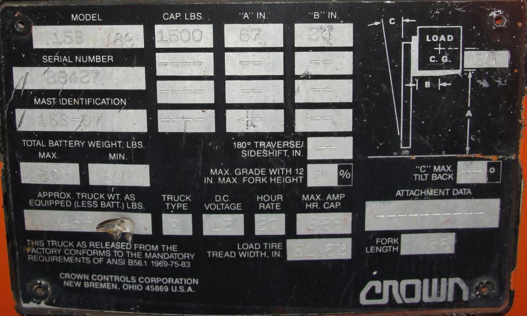Material Handling Equipment 1500 lbs capacity Crown drum lift model 15B, 67 lift height4