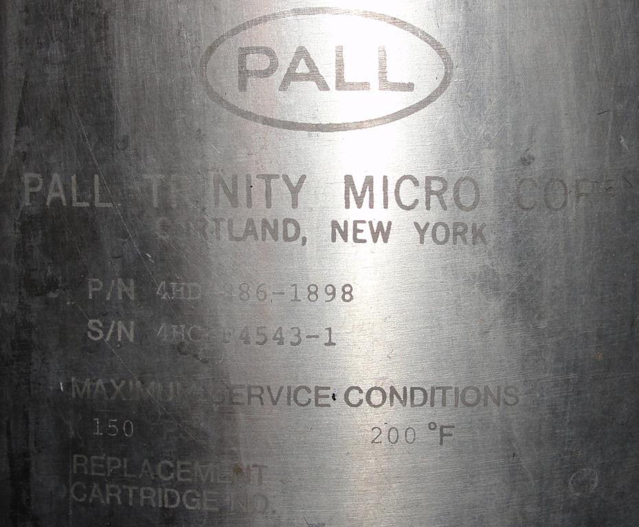 Filtration Equipment 35 sq.ft. Pall Corp cartridge filter model 4HD 886-1898, 316 SS4