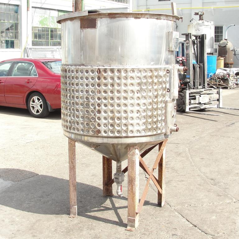 Tank 250 gallon vertical tank, Stainless Steel, half dimple jacket, conical bottom3