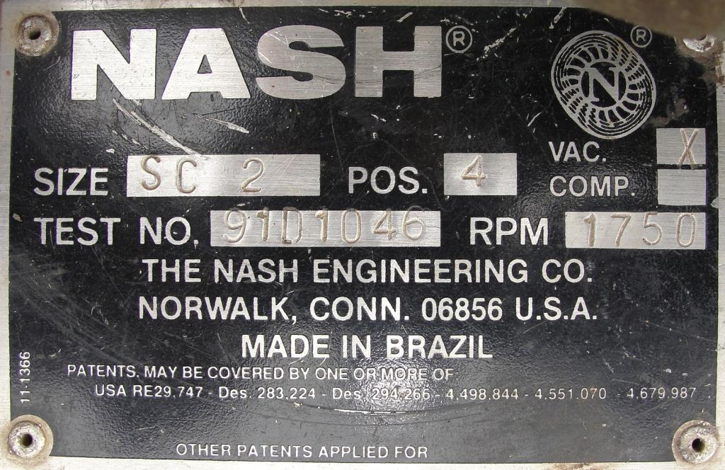 Pump 76 cfm Nash vacuum pump model SC-2 10 hp, CS6