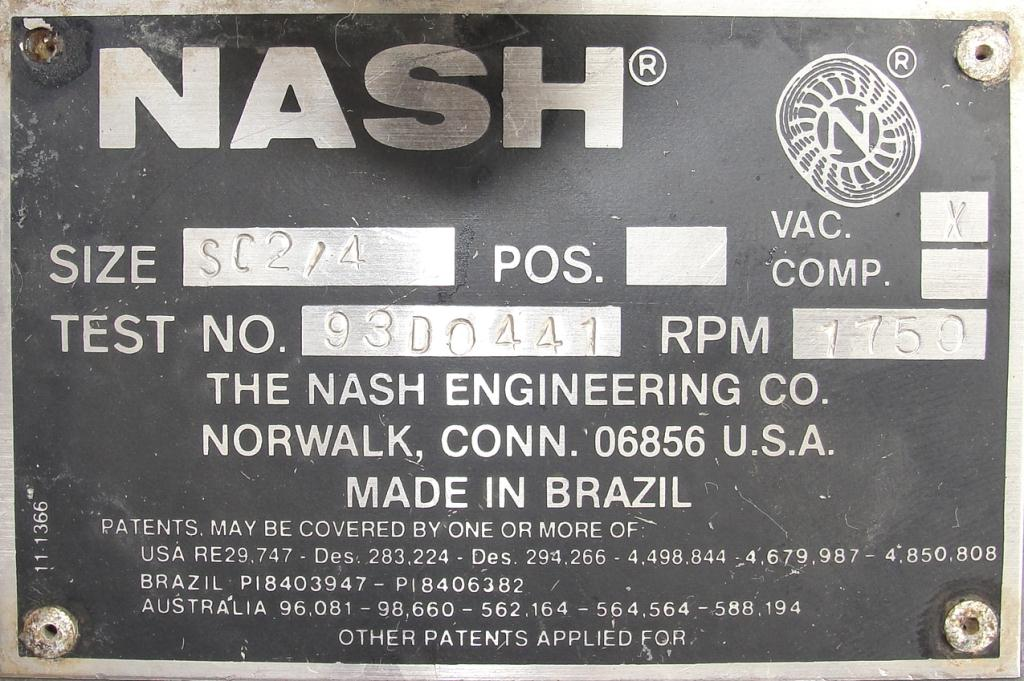 Pump 76 cfm Nash vacuum pump model SC-2 10 hp, CS4