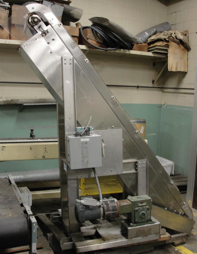 Conveyor Nedco inclined belt conveyor Stainless Steel, 12 wide, 80 discharge height2