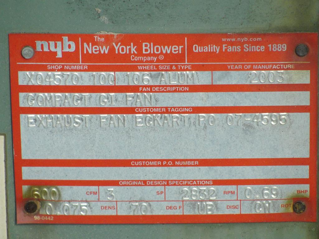 Blower 1000 cfm centrifugal fan New York Blower Co size 106 model Compact GI Fan, 1 hp, Aluminum3
