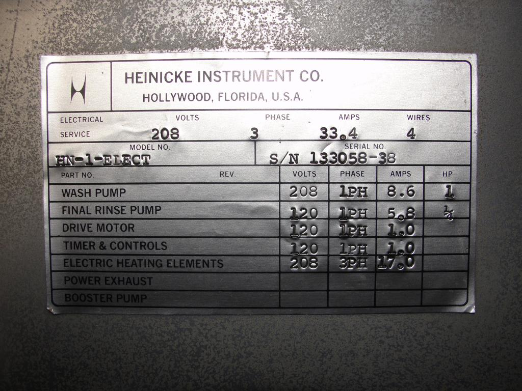 Washer Heinicke Instruments Co 1 stage, spray washer, 18 wide x 18 tall x 14 deep work opening, Stainless Steel5