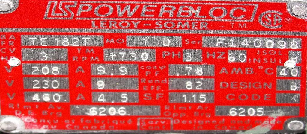 Blower 59 cfm, positive displacement blower Fuller Co, 3 hp5