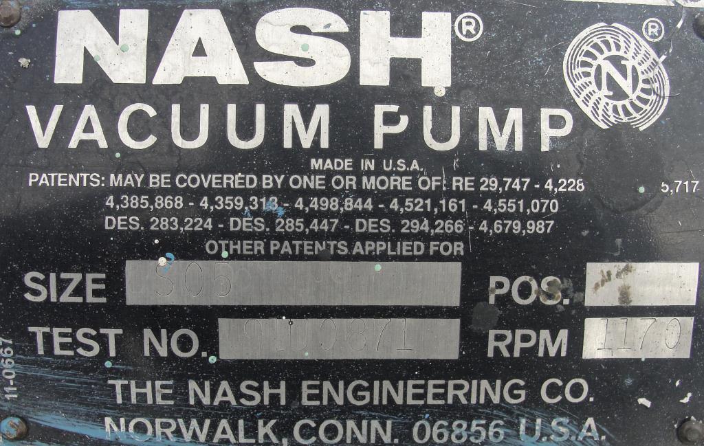 Pump 450 cfm Nash vacuum pump model SC-5 25 hp, CS5