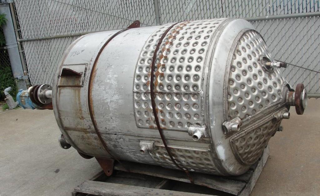 Tank 250 gallon vertical tank, Stainless Steel, 25 psi @ 350° F internal, 125 psi @ 350° F half jacket, .75 hp agitator, conical bottom3
