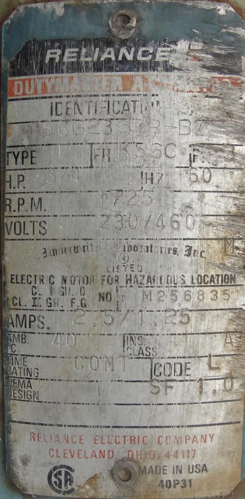 Tank 250 gallon vertical tank, Stainless Steel, 25 psi @ 350° F internal, 125 psi @ 350° F half jacket, .75 hp agitator, conical bottom6