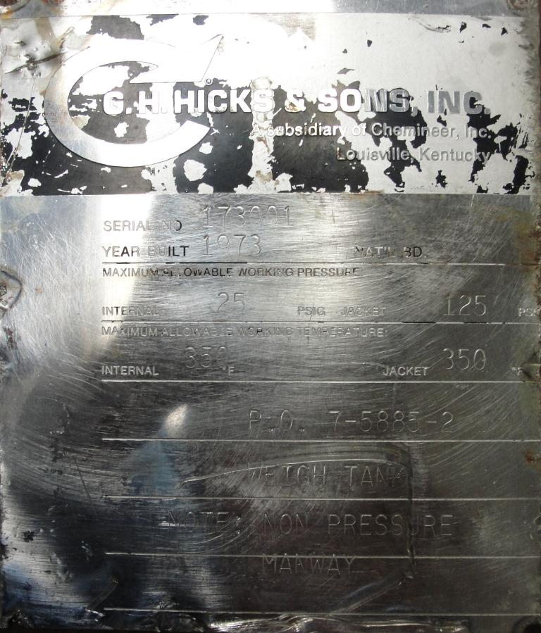 Tank 250 gallon vertical tank, Stainless Steel, 25 psi @ 350° F internal, 125 psi @ 350° F half jacket, .75 hp agitator, conical bottom8