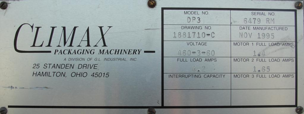 Case Packer Climax drop case packer model DP3, up to 15 cpm8