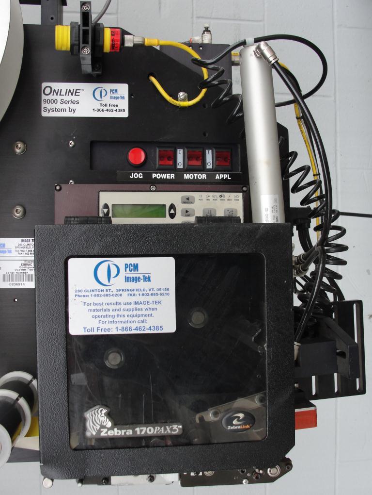 Labeler PCM Image-Tek pressure sensitive labeler model Online 9000 Series, tamp-on, 600 per min4