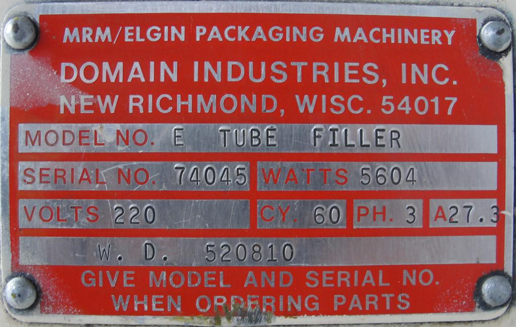 Filler single piston filling heads MRM Elgin tube filler model E7