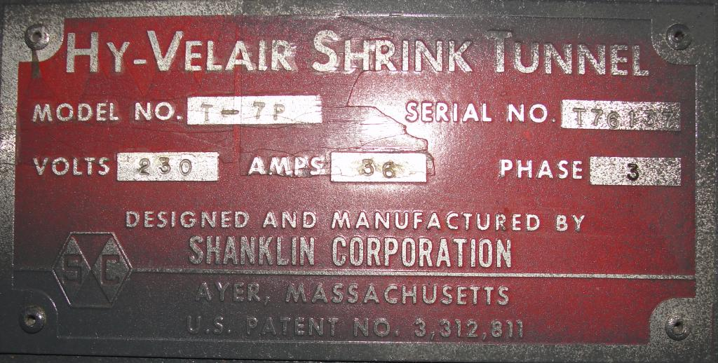 Shrink Tunnel Shanklin Corp electric shrink tunnel model HY-Velair T-7P, 22 wide x 9 tall work opening6