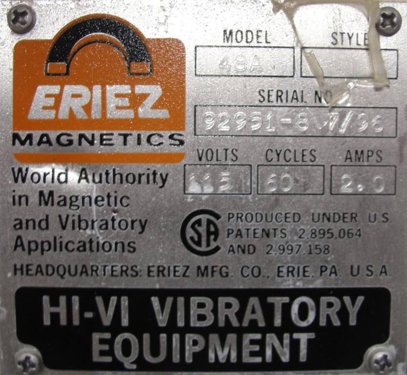 Feeder Eriez vibratory feeder model 484, Stainless Steel Contact Parts8