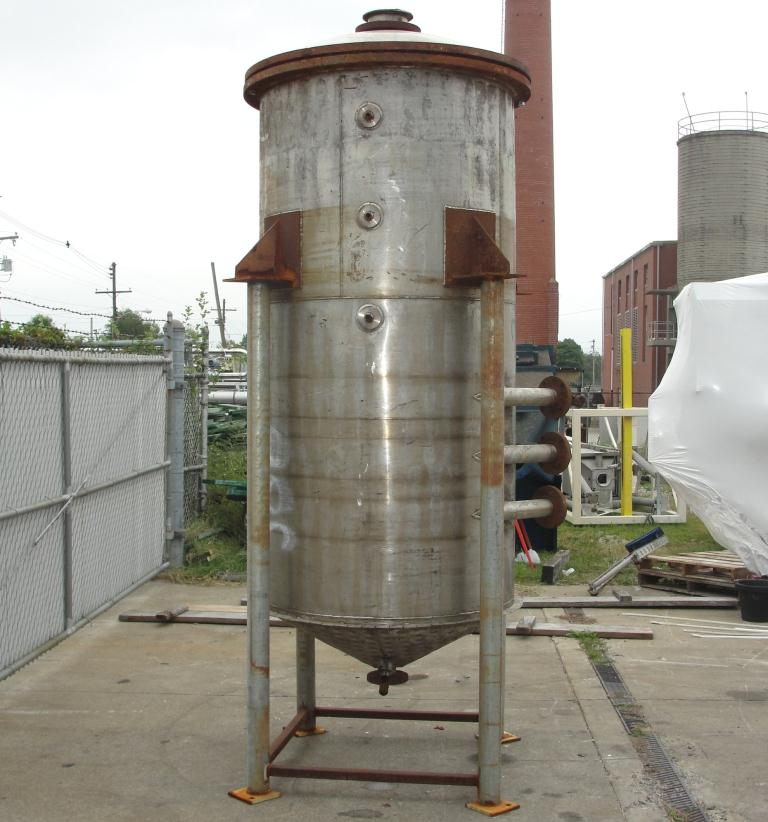 Tank 500 gallon vertical tank, Stainless Steel, 90 psi @ 330° F dimple jacket, conical bottom7