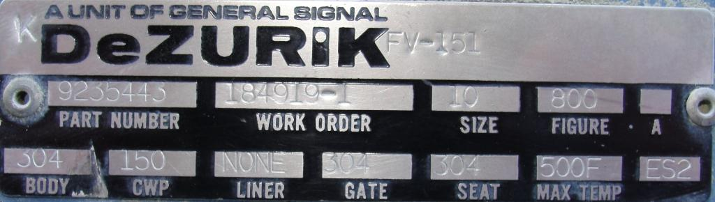 Valve 10 dia Dezurik gate valve, hand wheel, 304 SS3