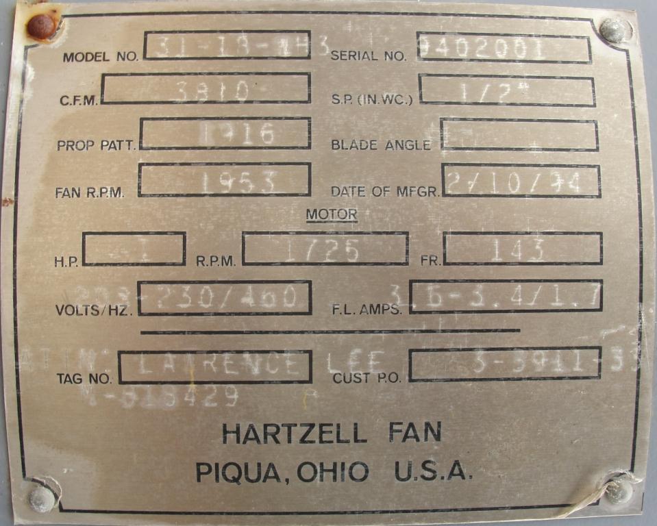 Blower 3810 cfm centrifugal fan Hartzell Fan Inc model 31-18-143, 1 hp, NA3