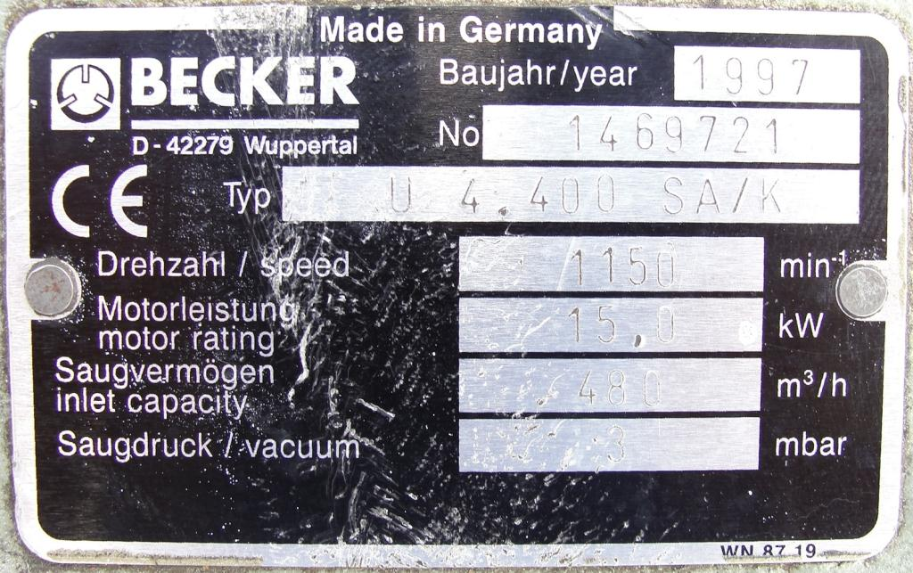 Pump 283 cfm Becker Pumps Corp vacuum pump model U4.400 SA/K 15 hp, Aluminum6